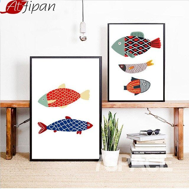 Atfipan Framed Minimalis Kartun Ikan Wall Art Print Kanvas Lukisan Cat Air Gambar Dinding Ruang Tamu