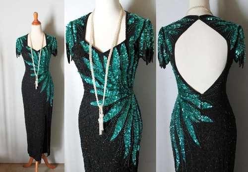 Vtg 1920s Flapper Style Beaded Dress Backless Womens