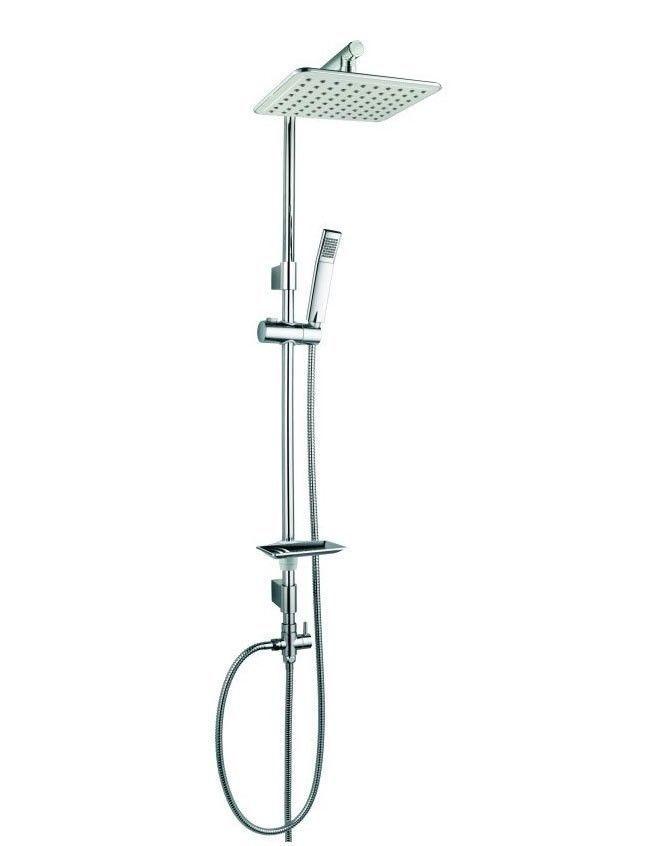 Design Colonna Barra Doccia Set Soffione Pioggia Bagno Cromo