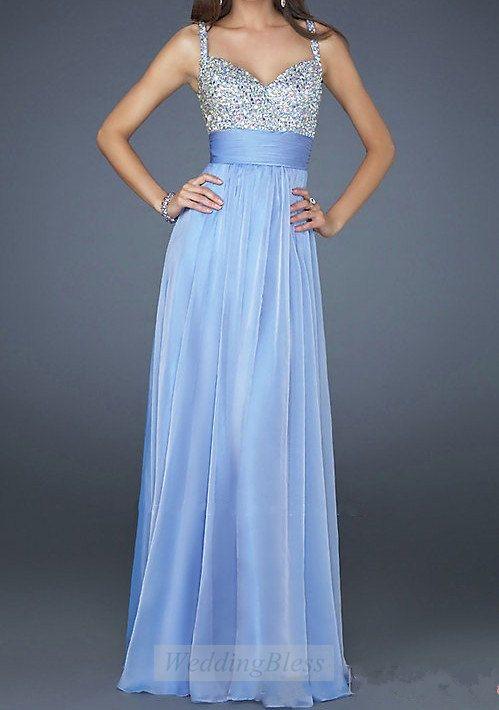 Light Sky Blue Chiffon Long Prom Dress A-line Dresses with Straps