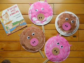Kids Young (and old) love If you Give a Pig a Pancake.  The young kids will love making these pig puppets from paper plates.