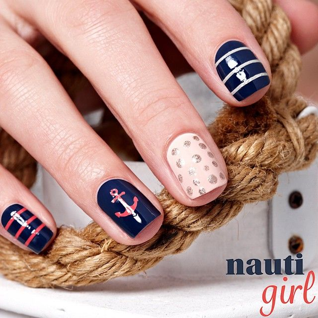 Navy Blue and Coral Nautical Nails With Anchor ⚓️