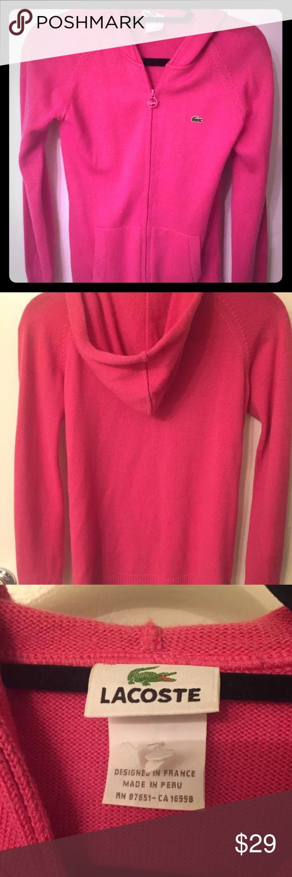 Lacoste Pink Zip Up Hoodie Great condition and super preppy and cute! Size 38 which is a medium Lacoste Sweaters