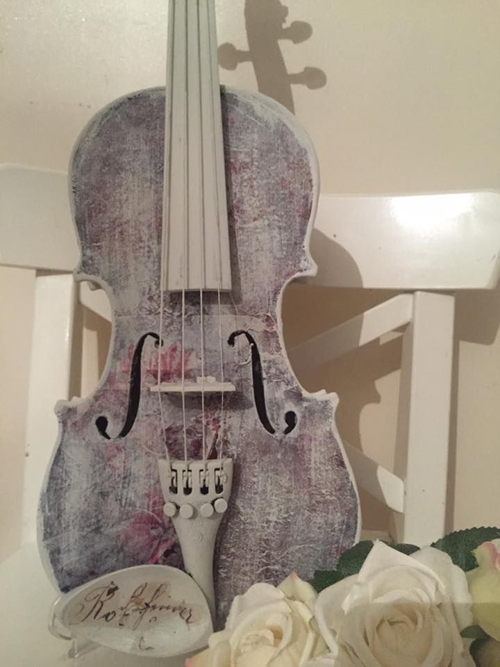 Upcycled Violin Chalk Painted And Decoupaged With Laura