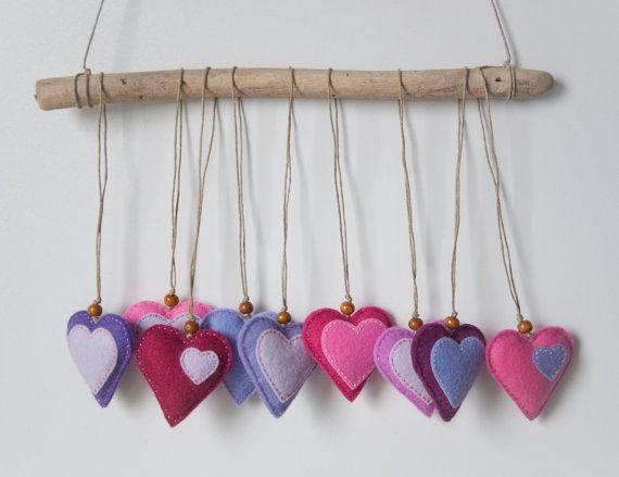 Me sentais ornements de coeurs en rose, lavande, violet - lot de 9, mariage faveurs, cotillons, Saint-Valentin
