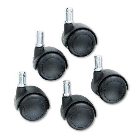 Safco TaskMaster Hard Floor Casters, Black, 5/Set