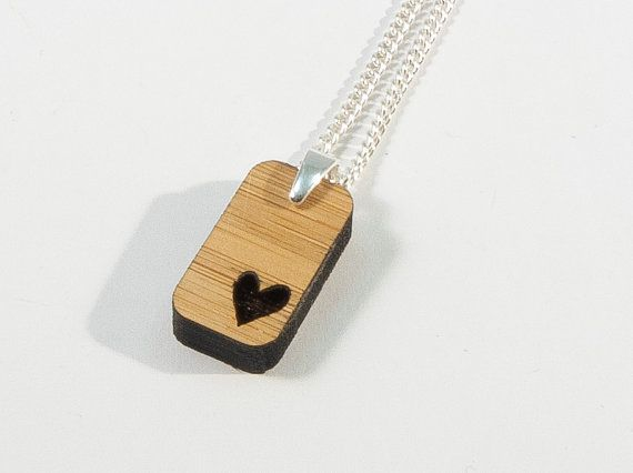 Bamboo Heart Pendant by BeamDesigns on Etsy