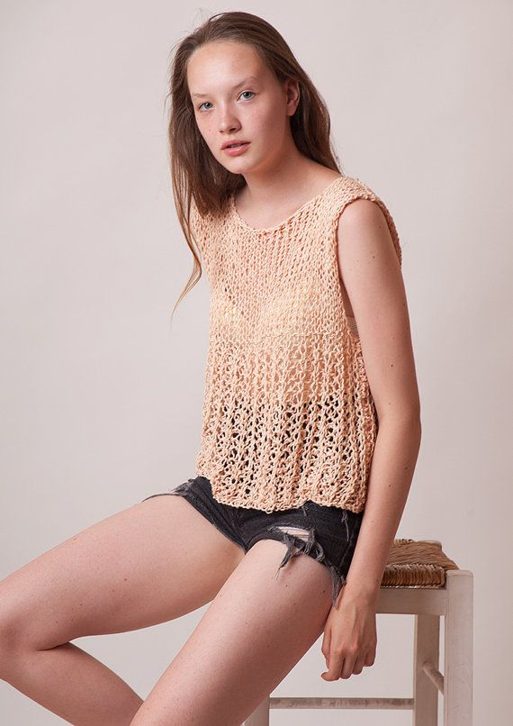 Knitted blouse loose top women summer clothing by beWoolen on Etsy