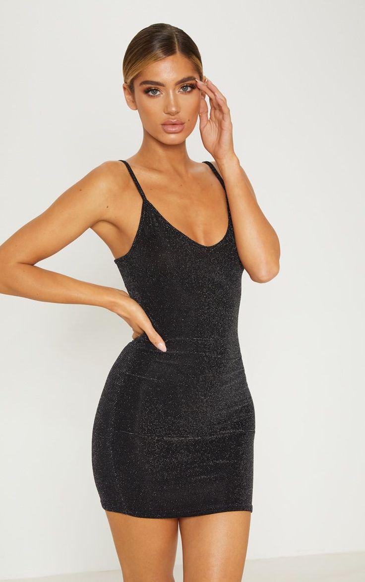 Black sheer strappy textured glitter bodycon dress dresses
