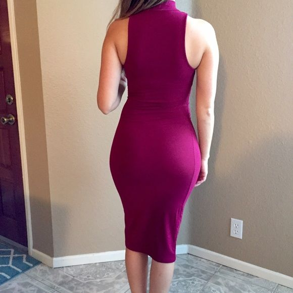Burgundy High Neck Sleeveless Midi Dress (LAST S!) Beautiful Burgundy Bodycon Midi dress. Brand new. Never worn. No flaws. 87% polyester, 13% spandex. Available in S-M-L. Bundle for 10% off. No Paypal. No trades. No offers will be considered unless you use the make me an offer feature.     Please follow  Instagram: BossyJoc3y  Blog: www.bossyjocey.com Dresses Midi