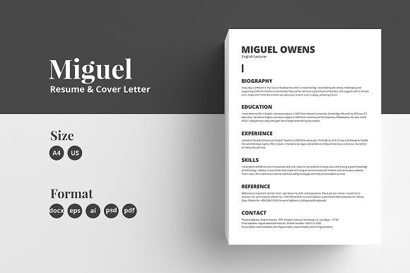 Resume Cv Template Miguel Resume Cover Letter Template Cv Template Resume Cv