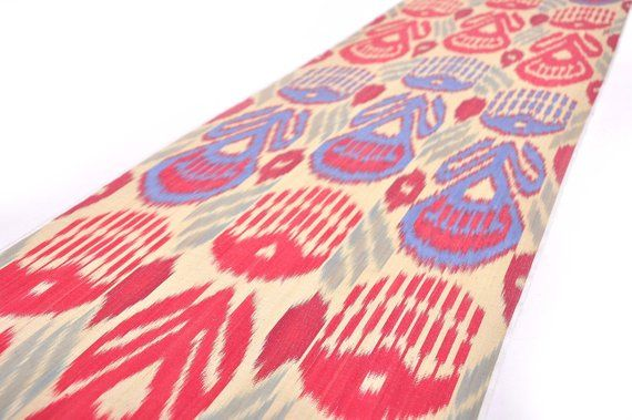 Red And Blue Ikat Fabric By The Yard Upholstery Handwoven Fabric