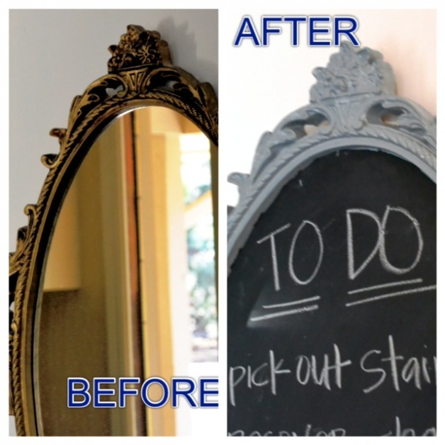 Spray Painted mirror into Chalkboard Before and After