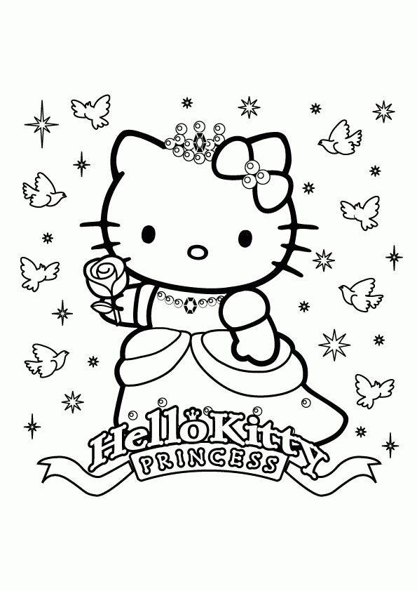 Princess Hello Kitty Coloring Pages Girls Free Online And Printable