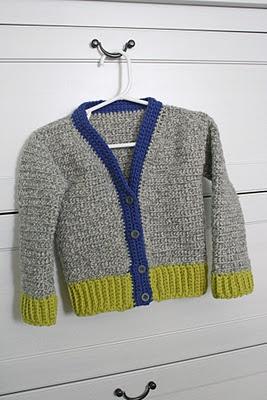 little boy crocheted cardigan
