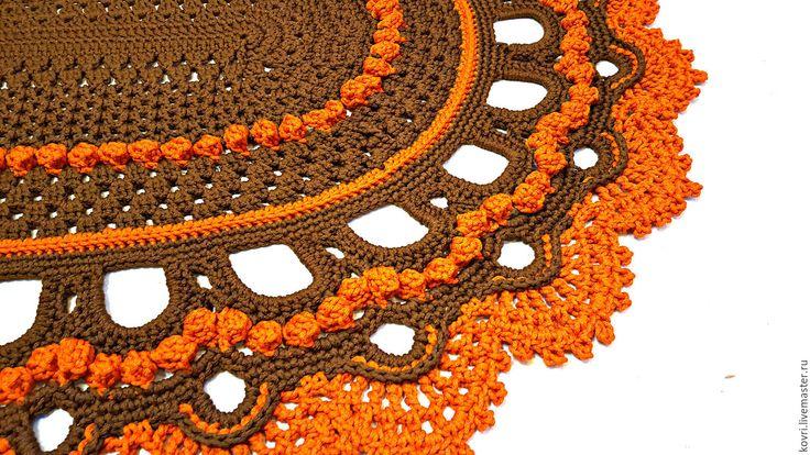 Купить Овальный вязаный ковер Апельсин в шоколаде. - коричневый, апельсиновый цвет, апельсин, вязаный ковер