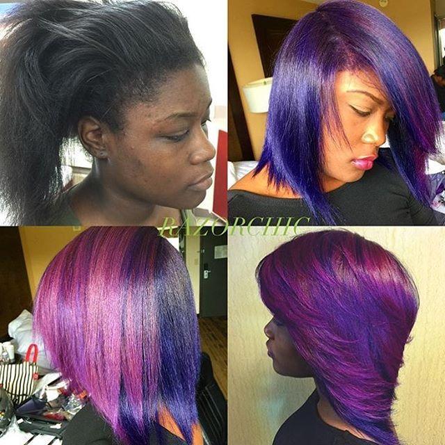 Love this #purplehair by #atlstylist @razorchicofatlanta 💜 Beautiful👌🏾#voiceofhair
