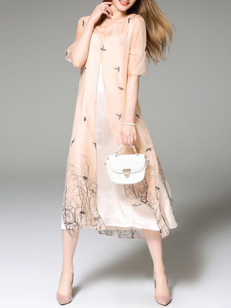 Shop Midi Dresses - Apricot Casual Crew Neck Printed A-line Midi Dress online. Discover unique designers fashion at StyleWe.com.