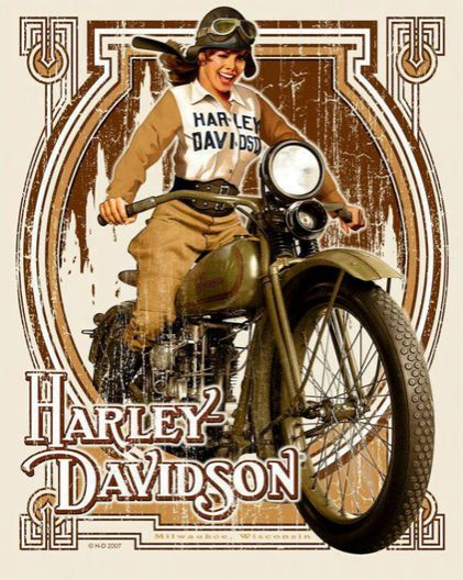 """""""Harley girl"""" by David Uhl, artist and painter who favors the subject of motorcycles and women.  [ more tagged Harley 