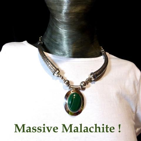 Tribal Malachite Necklace | 925 Sterling Silver | Large showpiece | Unique Ethnic Silver work | Crystal Heart Melbourne Australia since 1986