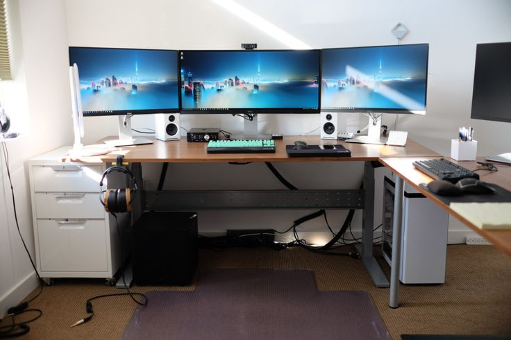 IKEA Gaming Computer Desk setup with drawer also Triple Monitors and White PC Case Battle Station
