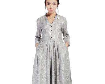 Maxi jurk linnen jurk vrouw groene jurk flowy jurk
