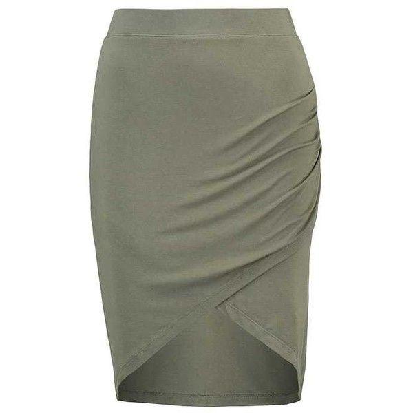 YAEL Pencil skirt khaki ❤ liked on Polyvore featuring skirts, pencil skirt, khaki skirt, green skirt, khaki green skirt and knee length pencil skirt