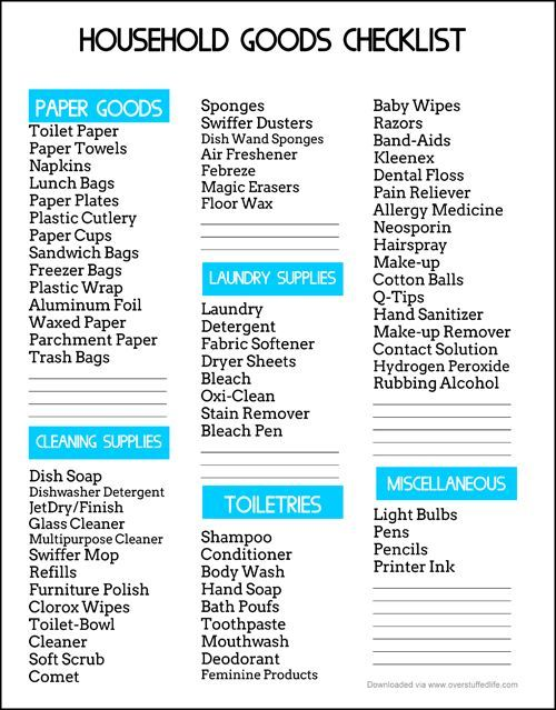An Easy Way to Save Money on Household Goods {free printable - sample new apartment checklist