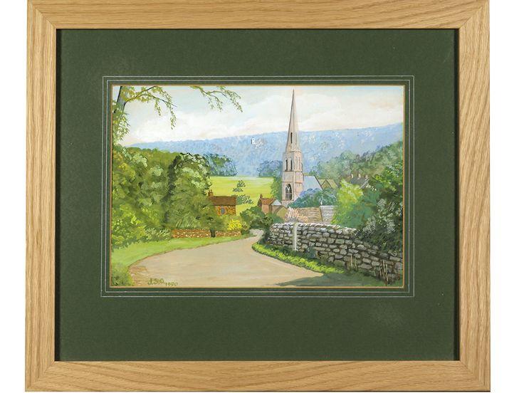 'Edensor Village, near Chatsworth' by J S Oldfield. Original signed & framed gouache.