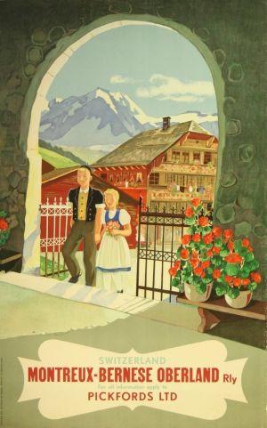 Switzerland MOB Railway, 1930s - original vintage poster listed on AntikBar.co.uk