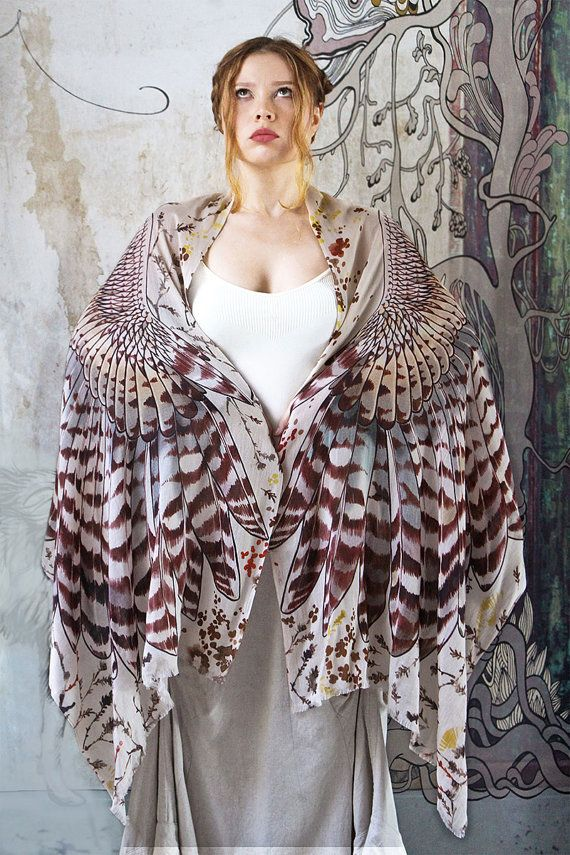 Owl art cotton scarf day version Hand painted Owl Wings от Shovava