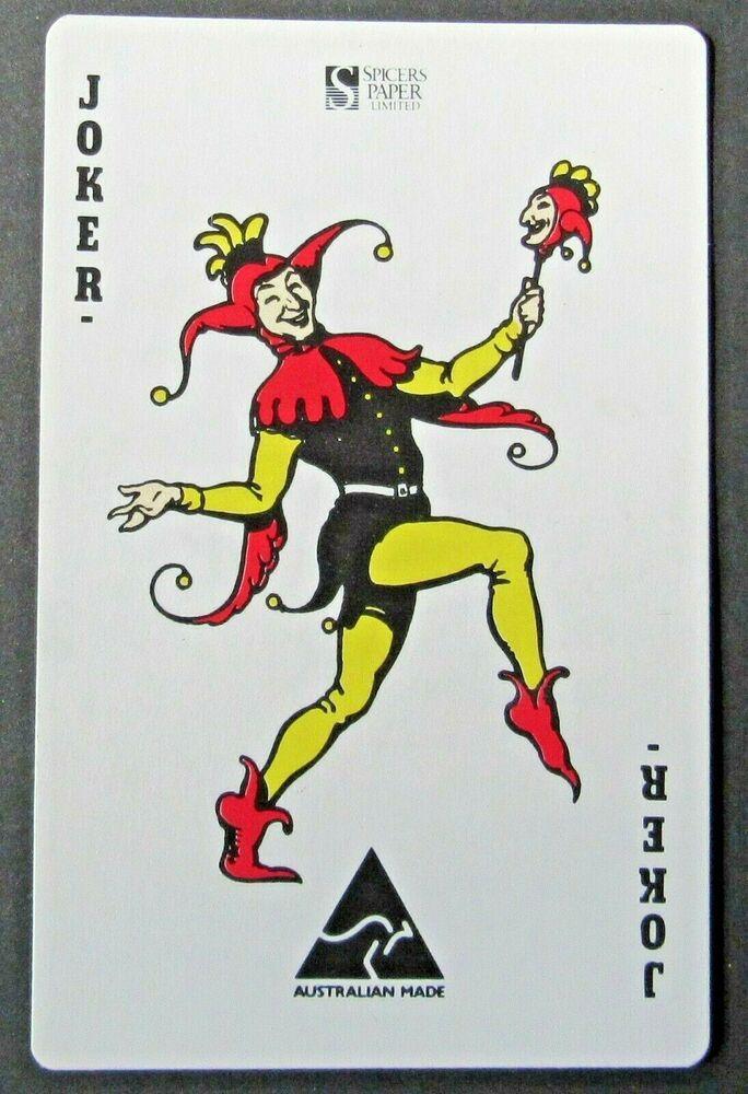 Joker Spicers Paper Australian Made Enzed Ad Single Swap Playing Card Joker Card Tattoo Joker Card Joker Playing Card