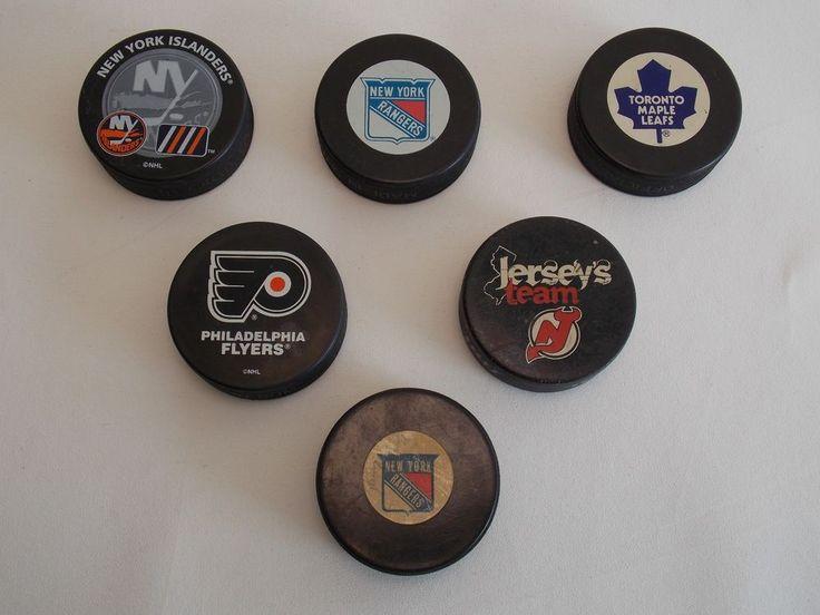 Set(6)Official Hockey Pucks,Flyers,Maple Leafs,Islanders,Devils,Rangers Vintage #Multiple