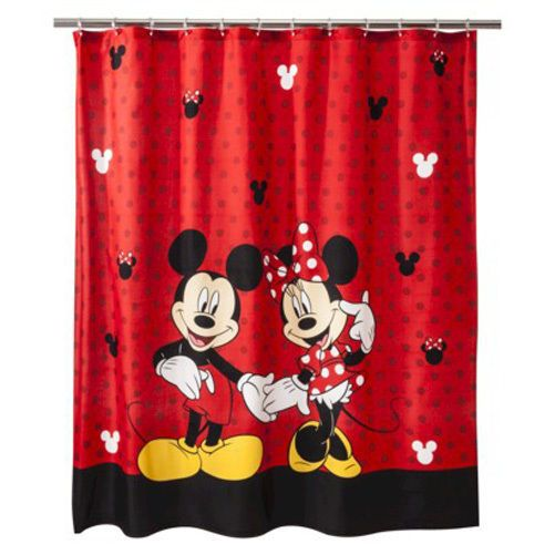 Disney Mickey Minnie Mouse Red Fabric Shower Curtain 70