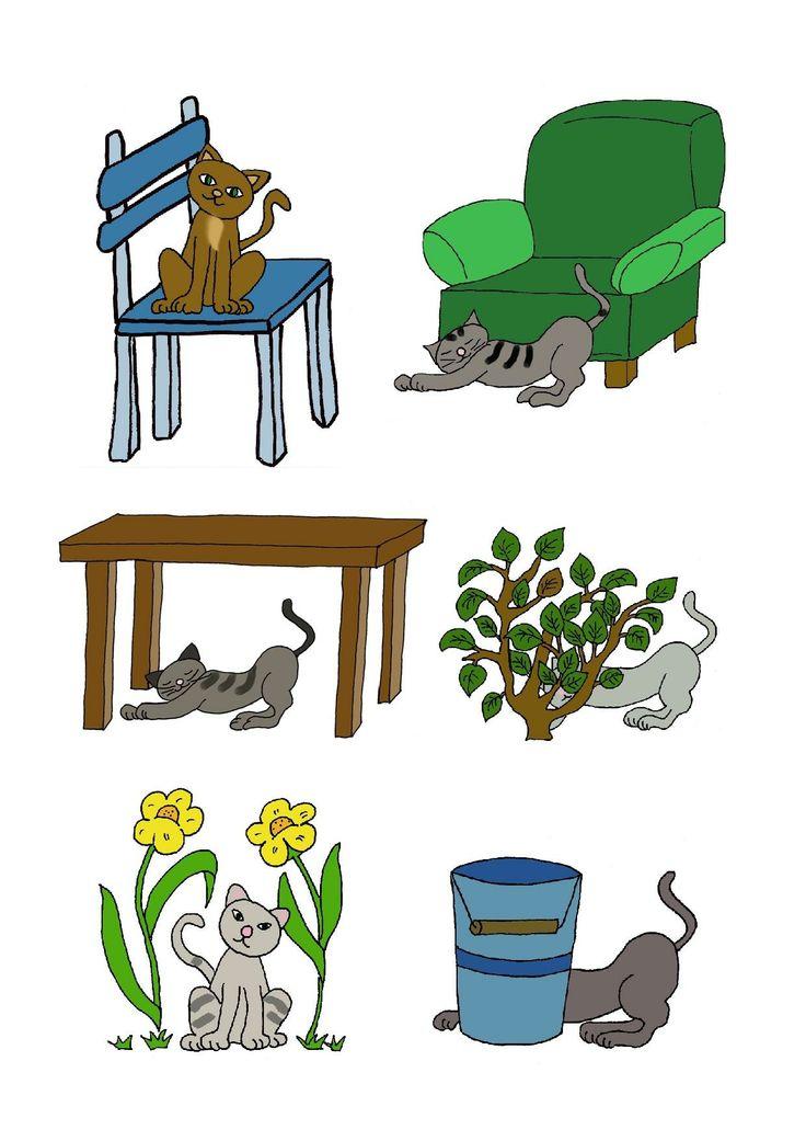 Meséld el: hova ült, feküdt, bújt el a cica? (székre, fotel elé, asztal alá, bokor és vödör mögé, virágok közé). Aztán mondd el azt is: hol van most a cica?