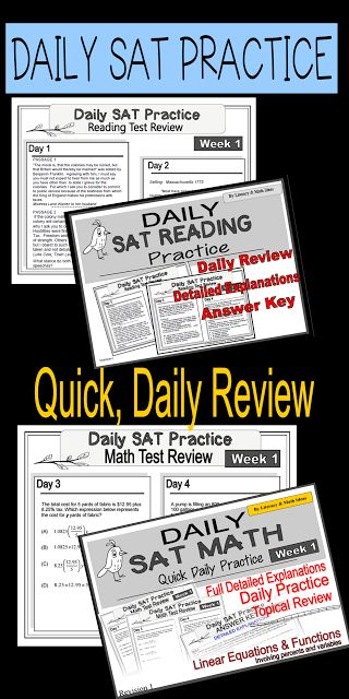 Daily SAT Reading and Math Practice~ Use this to review for the new SAT test. Detailed answer keys are included. Each week is thematic to promote topical practice. $