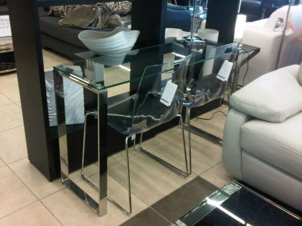 clear glass console table with clear acrylic chairs on display furniture toronto acrylic furniture toronto