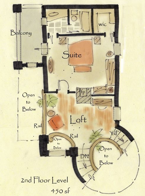 Lostroh Castle - Second Level   Storybook House Plans from New South Classics  storybook cottage house plans