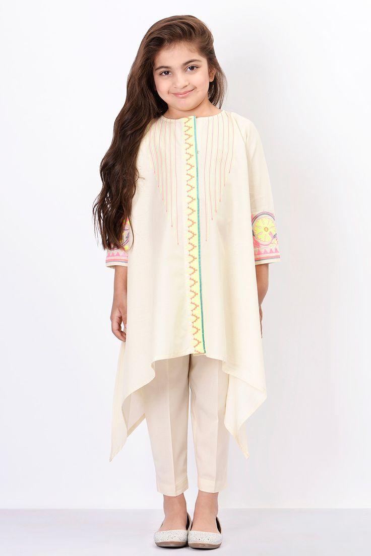 Khaadi - Embroidered Kurta with Pants - Girls - Kids