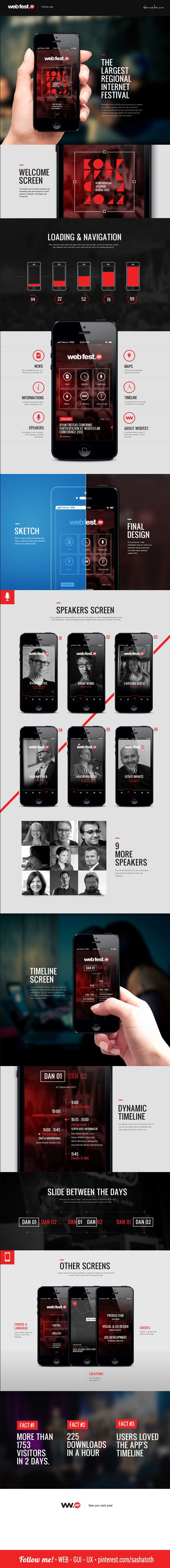 WebFest - iPhone App on Behance *** Web Fest .ME Conference is not just the conference organized by the web people for the web people. It is the gathering of all those who want to experience inexhaustible energy behind running a startup, learn more about the recent developments in online marketing and web-based businesses and ultimately about using tech to take each and every aspect of their everyday lives to the next level. - by Nemanja Ivanovic, via Behance *** #app #gui #ui #behance