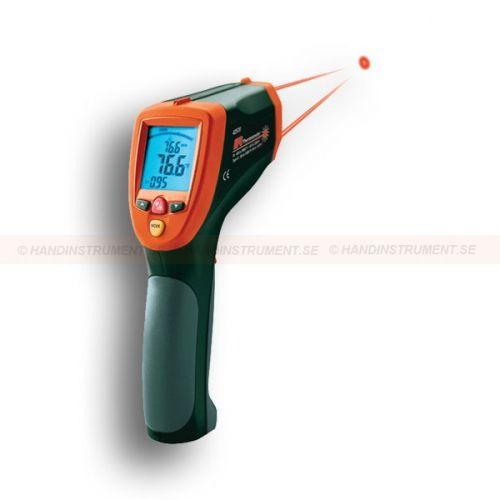 """http://termometer.dk/termometer-r13808/ir-termometer-r13827/ir-termometer-53-42570-r13844  IR termometer  50:1 distance: mätdiameter måle små områder i en større afstand  Dual laser indikerer den ideelle måling afstand, når to laser punkter konvergere til 1 """"Target Spot  IR Temperaturområde: -58 til 3992 ° F (-50 til 2200 ° C)  Type K termoelement input fra -58 til 2498 ° F (-50 til 1370 ° C)  Hvid baggrundsbelyst multifunktions LCD display med søjlediagram  Hurtig 100 millisekund..."""