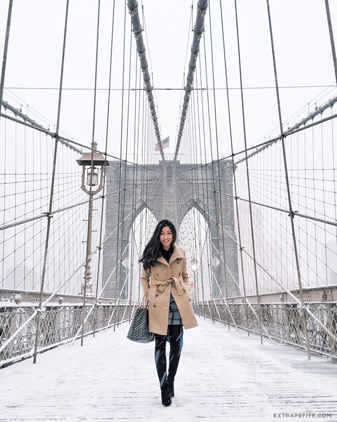 brooklyn bridge snow new york winter outfit                                                                                                                                                                                 More
