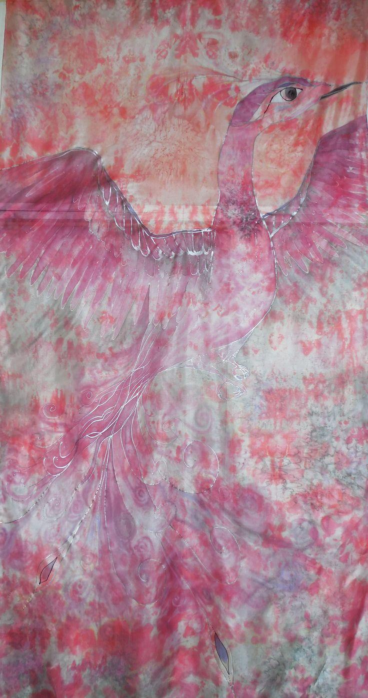 Phoenix (silk pareo, hand painted, cm 180 x 90)