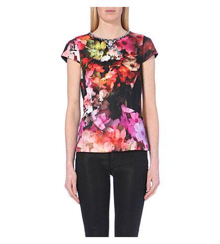 TED BAKER Arai embellished floral-print top (Black