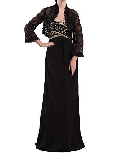 Favors Dress Womens Formal Beading Mother of the Bride Dress with Jacket Black 16