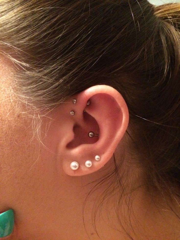 Two forward helix inner conch and triple lobes | tattoos ...