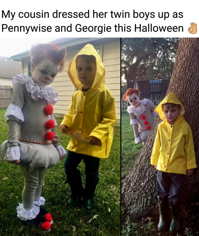 """My cousin dressed her twin boys up as Pennywise and Georgie this Halloween"""