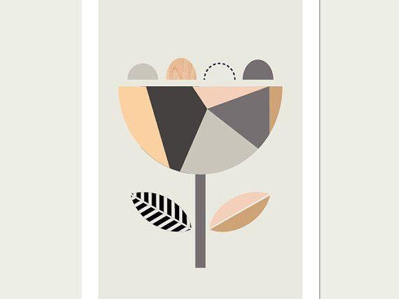 Scandi Flower (Apricots). Scandinavian Art, Geometric Art, Flower print, Scandinavian, Nursery decor, Nursery art.