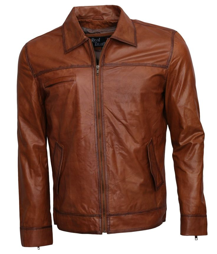 Brown Italian Men's Biker Style leather Jacket at Amazon Men's Clothing store: