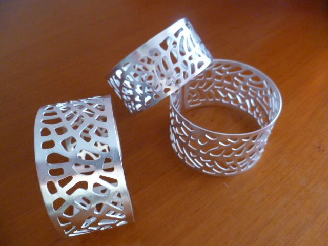 Bracelets isnpired by Gorgonia Coral, hand-made, silver-plating.